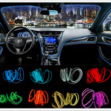JURUS 5Meter Ambient Light Car Interior Lighting LED Strip EL Wire Rope Auto Decorative Lamp Flexible Neon 12V Lights
