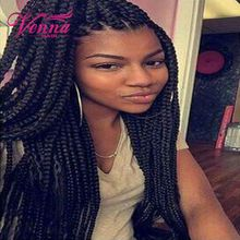 Lace Box Braids Wig Synthetic Black Hair Heat Resistant Braids Synthetic Hair Extensions with Baby Hair African American Braided