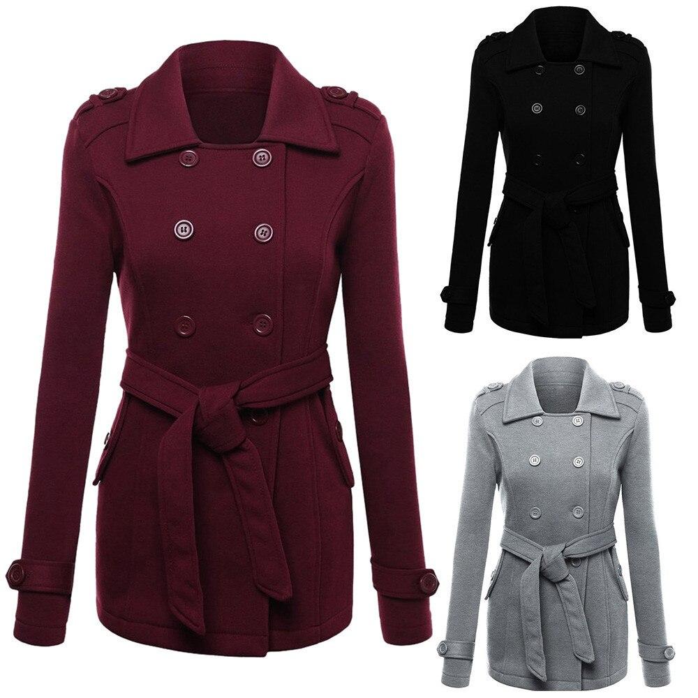 9cb65e997d6 2019 Winter Woolen Long Peacoat Women Slim Fit Casual Thick Overcoat ...