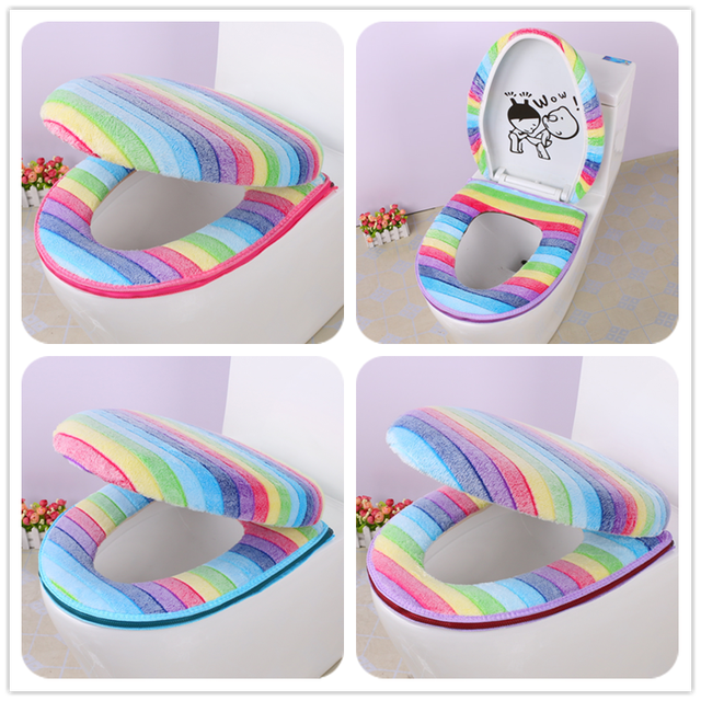Hello Kitty Potty Chair Folding Table Set 2pcs Colorful Rainbow Stripe Thermal Zippered Toilet Seat Cushion Bathroom Cover O Ring Mat