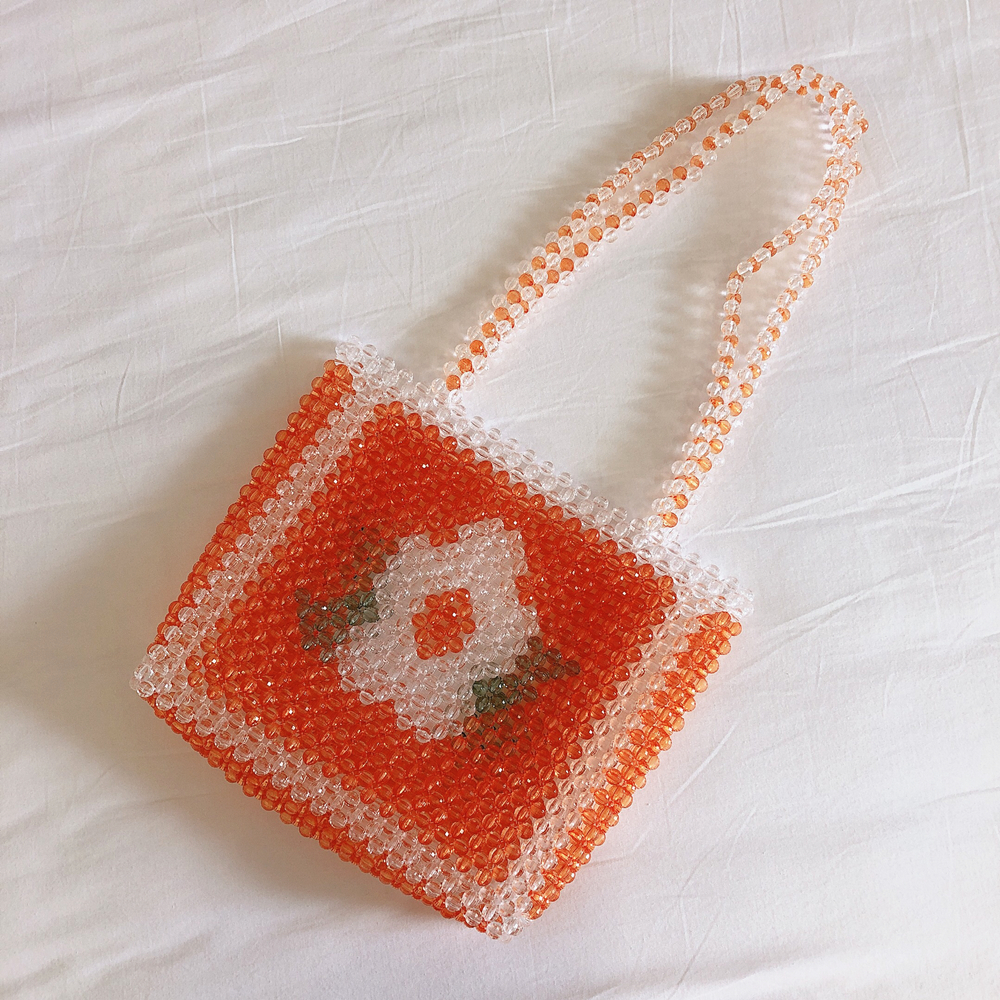 Bead Bag Flower Beaded Bag Yellow Pearl Woman Oblique Cross Double with Single Shoulder Bag Ins