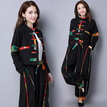 2018 Chinese Folk Style Wear Women Cotton And Linen Suit Stitching Plus Size Loose Clothing China Retro Woman