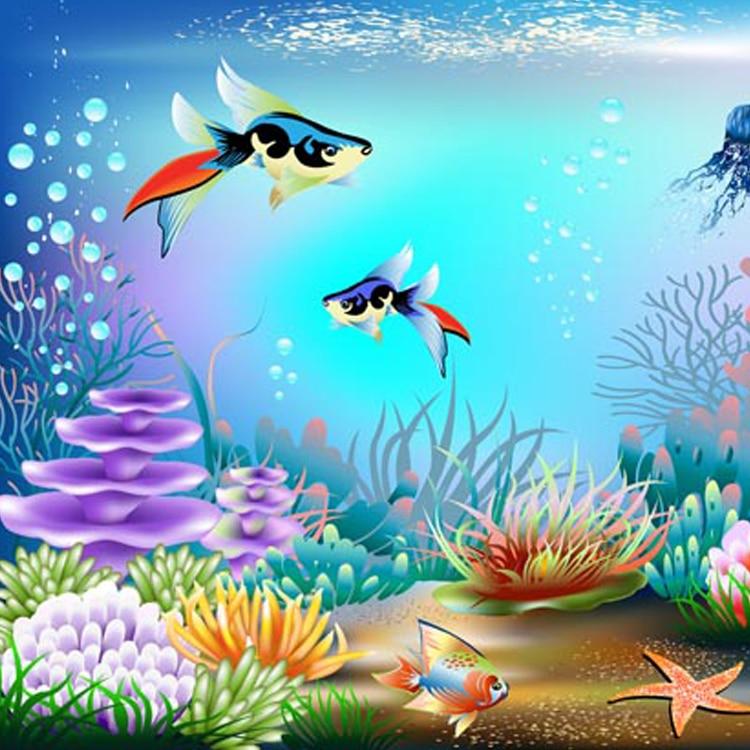 Custom size self adhesive wallpaper 3d cartoon wallpaper for Mural hidupan laut