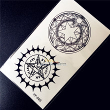 Compass Designs Fake Waterproof Tattoo Black Color 10.5x6CM Round Totem Star Tattoo Pentagram Women Men Body Art Tatoo Arm