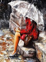 Rain Girl Picture DIY Oil Painting By Numbers On Canvas Calligraphy Decorative Canvas Painting By Number