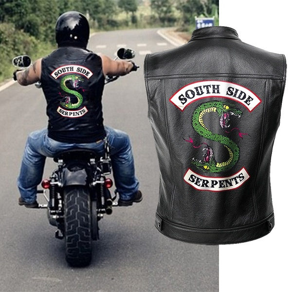 BF 2019 New Riverdale PU Leather Jacket Vest Men Motorcycle Spring Jackets South Side Serpents Punk Cool Black Motorrad Gilet