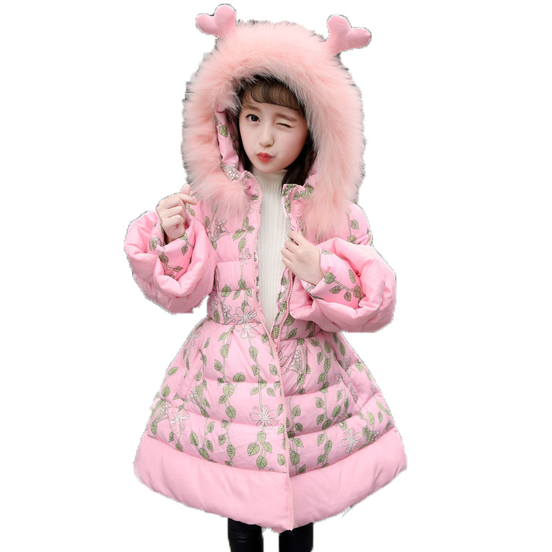 2018 Girls Medium-Long Winter Coat Children Warm Thick Clothing Girls Printed Cotton-Padded Jacket Fur Collar Hooded Coat E287 women s thick warm long winter jacket women parkas 2017 fur collar hooded cotton padded winter coat female manteau femme 5l81