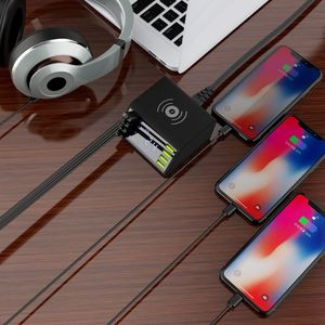 Image 3 - QC 3.0 Quick Charger 8 Ports USB Hub Charging Dock Station Qi Wireless Fast Charger with Voltage/Current Display for iphone