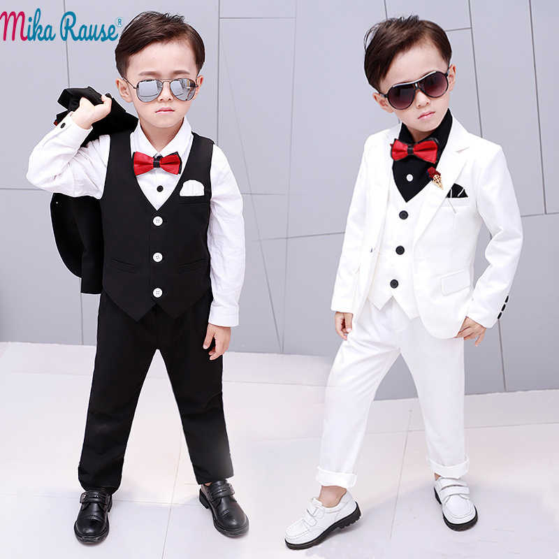 bf8368afe 5pcs Kids baby party dress boy suits Children white blazer for boys formal  costume clothes flower