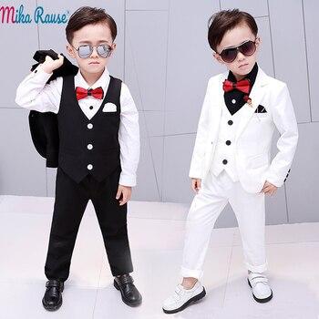 62bf6bd275eb9 5 шт., детское праздничное платье, костюмы для мальчиков, детский белый  блейзер для