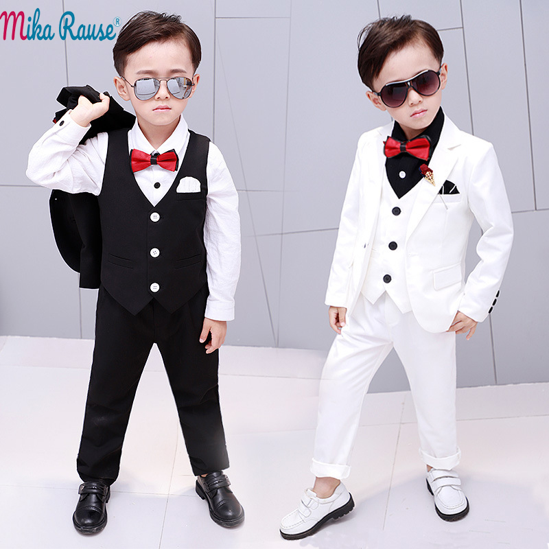 2d8aa144fd7fa Detail Feedback Questions about 5pcs Kids baby party dress boy suits  Children white blazer for boys formal costume clothes flower Boy wedding  tuxedo set 2 ...