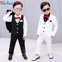5pcs Kids baby party dress boy suits Children white blazer for boys formal costume clothes flower Boy wedding tuxedo set 2 12Y