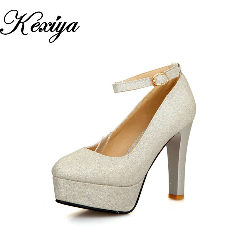 Große Größe 30-50 Mode Frauen Schuhe elegant Ultra hoch mit 13,5 cm sexy solide Schnalle High Heels HQW-310