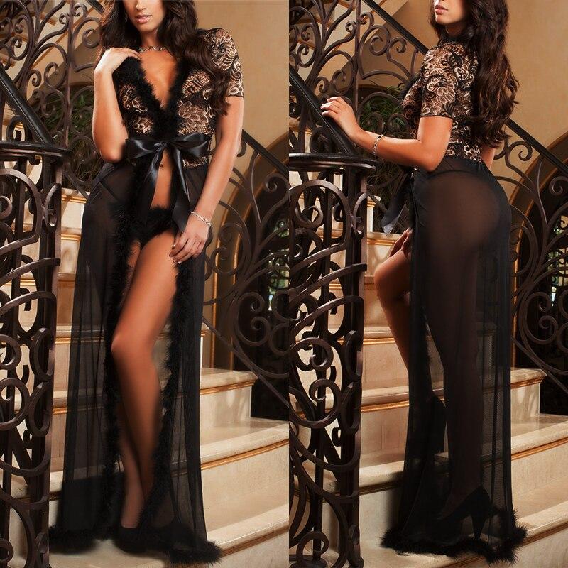 Женщины Сексуальное Женское Белье Одежда Нижнее Белье Кружева Длинное Платье Пижамы Халат Стринги Устанавливает Черный белый