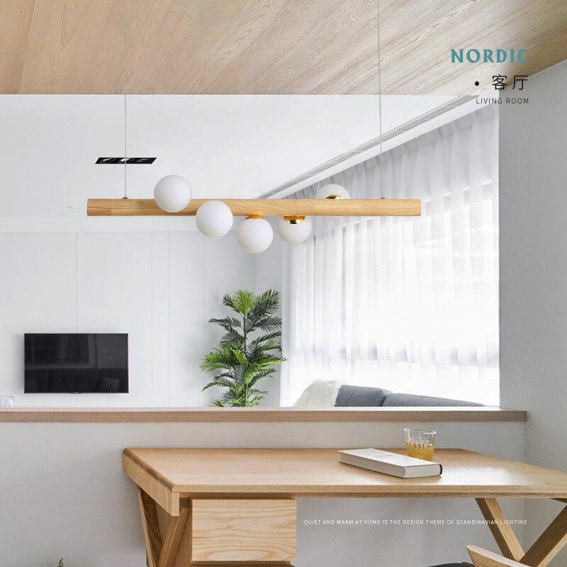 Drewno białe szklane kulki wisiorek led światła jadalnia Hanglamp G4 żarówka kawiarnia wisiorek pasek lampa oprawa domu lampa w stylu nordyckim