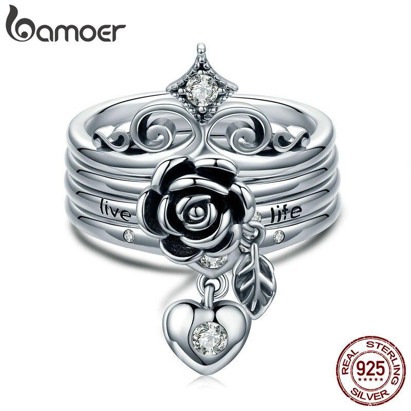 BAMOER New Arrival 100% 925 Sterling Silver Punk Style Heart Crown, Rose Flower Finger