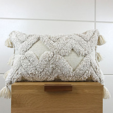 Handmade Cushion Cover Tufted Plush Ivory Pillow Case with Tassels For Sofa Seat Simple Home Decoration Linen 45*45cm 30x50cm