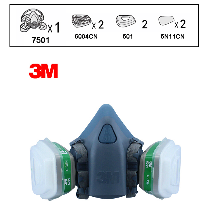 3M 7501+6004 Respirator Half Facepiece Reusable Respirator Mask Ammonia Methylamine Organic Vapor Cartridges Filters XK00993M 7501+6004 Respirator Half Facepiece Reusable Respirator Mask Ammonia Methylamine Organic Vapor Cartridges Filters XK0099