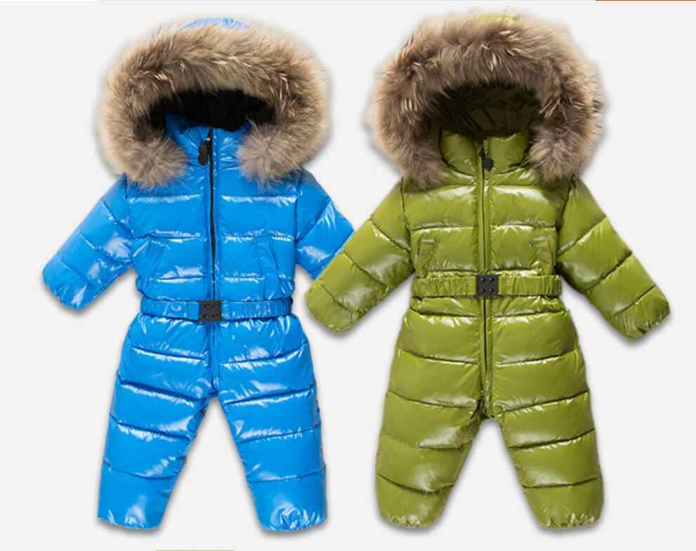 634c9b1ef ... Winter warm baby rompers Jumpsuit Children duck down overalls Snowsuit  toddler kids boys girls fur hooded ...
