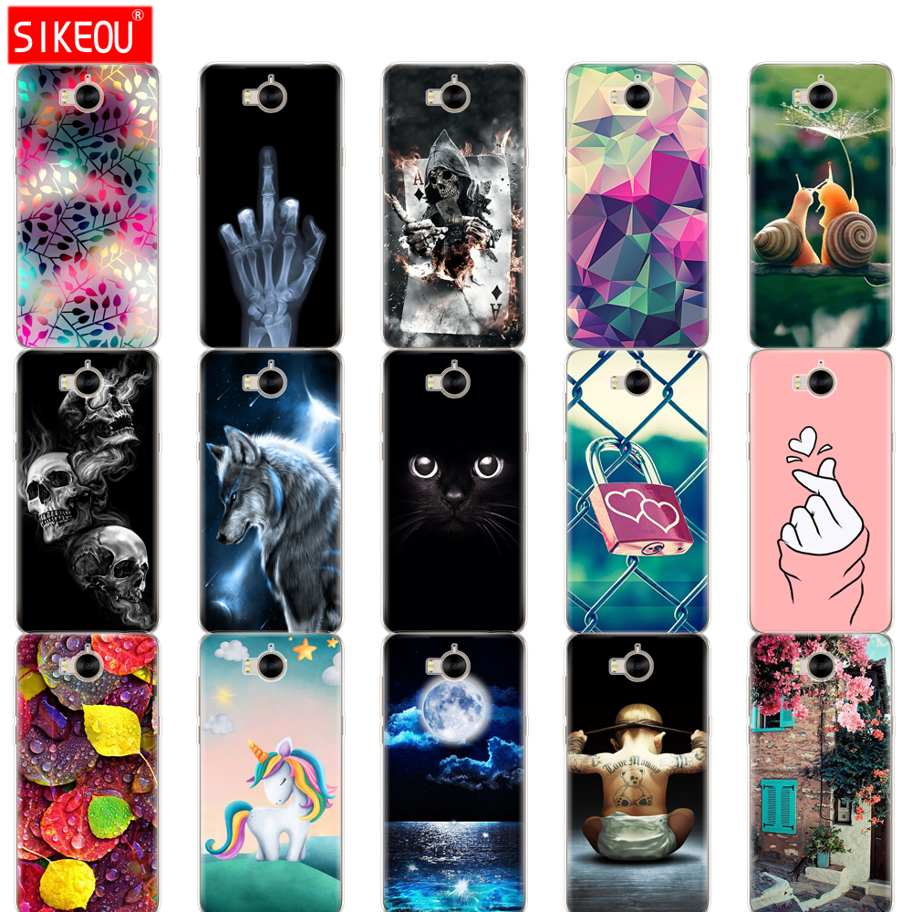 Cover Phone Case For Huawei Y6 2017 /Y5 2017 Soft Tpu Silicone Back Cover 360 Full Protective Printing Transparent Coque Flower