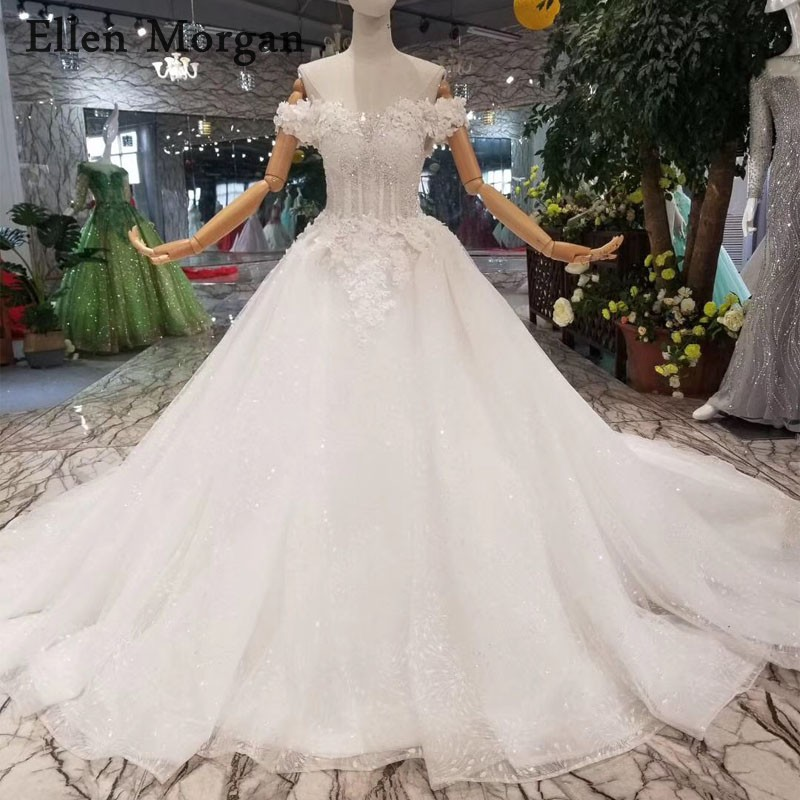 Glitter Ivory Ball Gowns Wedding Dresses Off Shoulder Chapel Train Corset  Custom Made Real Photos Princess Bridal Gowns 2019 a1eb7549f926