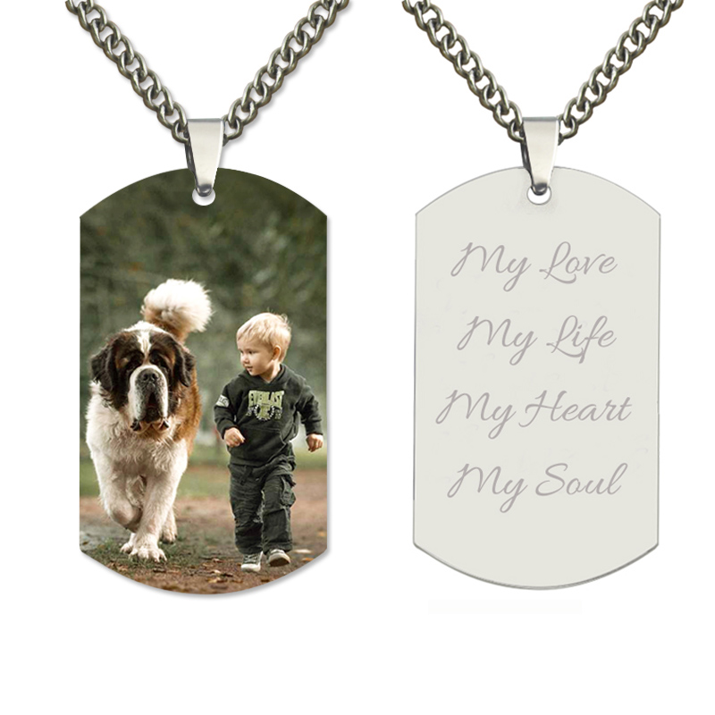 Men 39 s Custom Color Photo Titanium Steel Necklace Personalized Dog Tag Pendant Picture Chain for Men Jewelry Gift for Dad Father in Pendant Necklaces from Jewelry amp Accessories