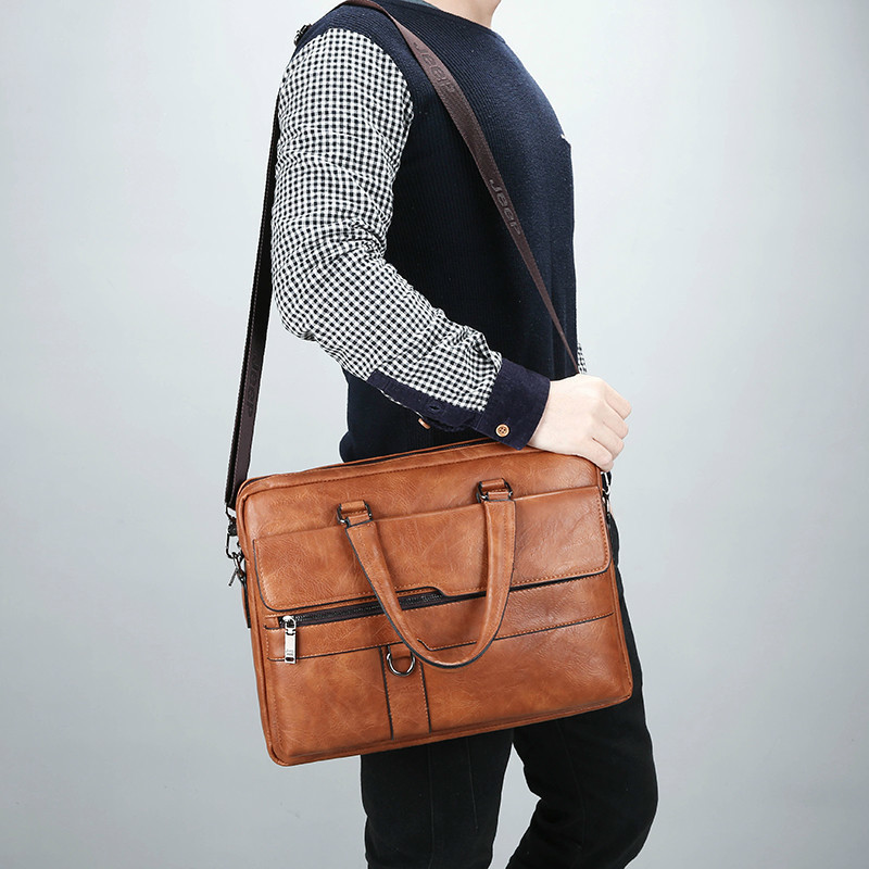 HTB1EUsAeMmH3KVjSZKzq6z2OXXaB New Men Briefcase Bags Business Leather Bag Shoulder Messenger Bags Work Handbag 14 Inch Laptop Bag Bolso Hombre Bolsa Masculina