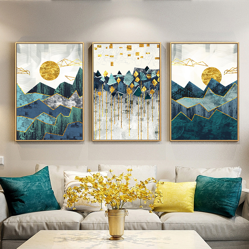Canvas Painting Wall-Picture Poster-Print Geometric Sun-Art Mountain-Landscape Abstract