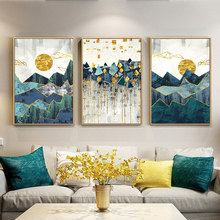 Nordic Abstract Geometric Mountain Landscape Wall Art Canvas Painting Golden Sun Art Poster Print Wall Picture for Living Room(China)