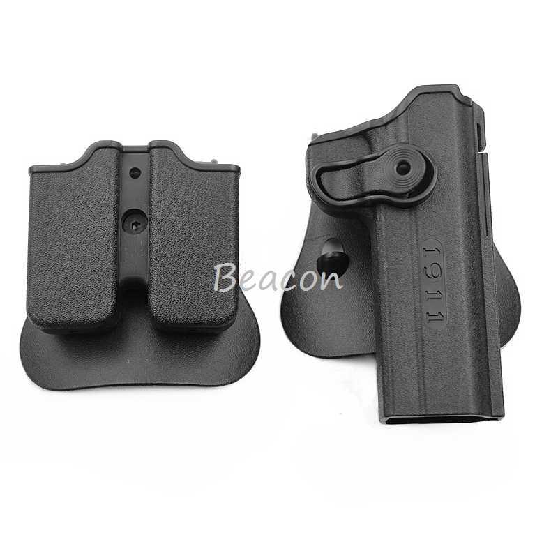 Hunting IMI Holster Colt 1911 Right Hand Belt Loop Paddle Combat Tactical Gun Pistol Holsters with Magazine Clip Pouch Black onetigris tactical gun holster molle modular pistol holster with magazine pouch for right handed shooters 1911 45 92 96 glock