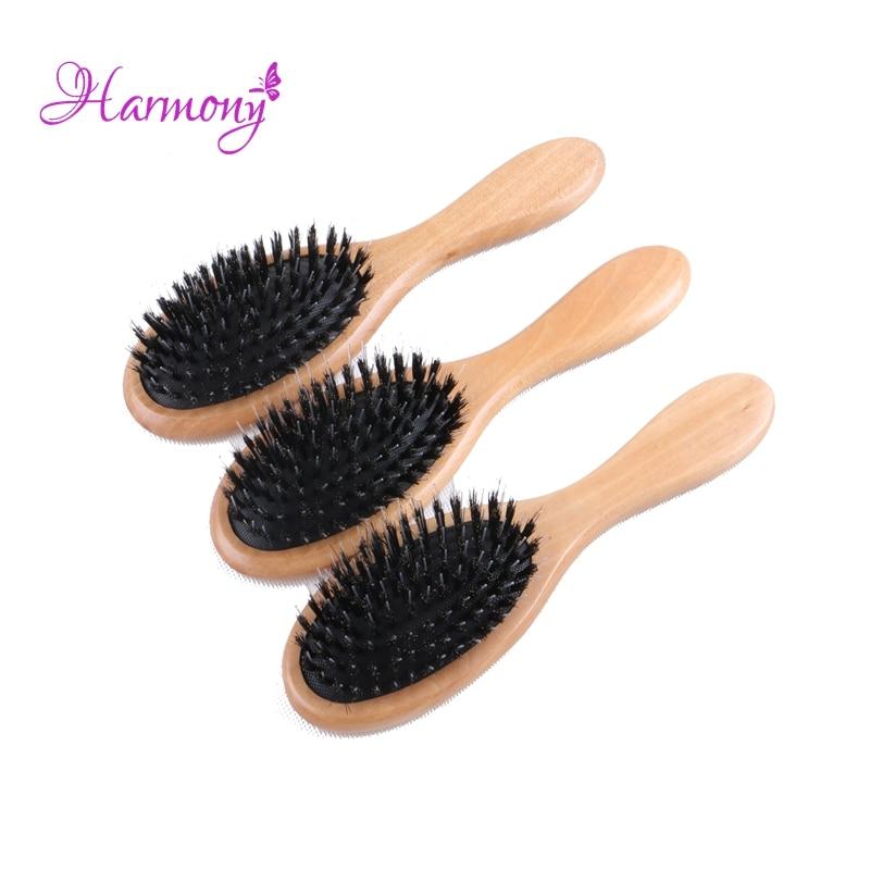 5pcs/lot Natural Varnish Wooden handle Boar Bristle Hair Brush, Hair Extensions Brush for Human Hair Extension
