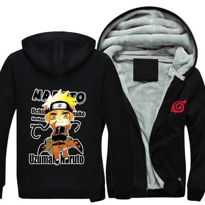 Naruto Hoodie New Anime Uchiha Sasuke Cosplay Coat Uzumaki Naruto Jacket Winter Men Thick Zipper Luminous Sweatshirts CM349