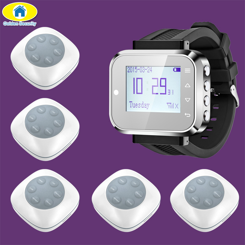Golden Security FSK C166 Watch Wireless Calling System Pager for Office Restaurant Coffee Shop Service System,5 Pager Buttons singcall wireless waiter service calling system for bank pack of 5 buttons and 1 pc watch for restaurant cafe shop