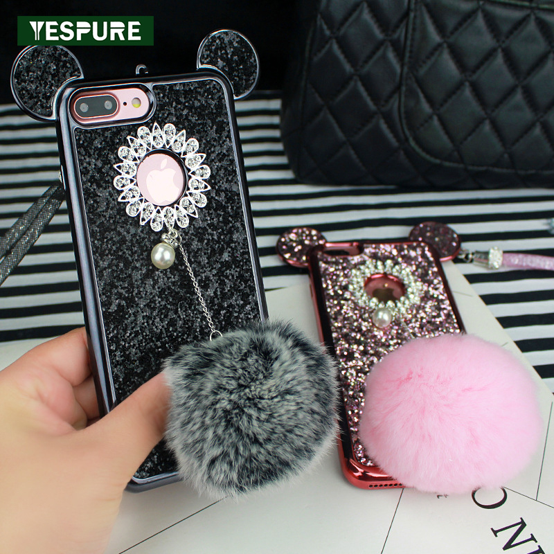 YESPURE Bling Glitter <font><b>Coque</b></font> for <font><b>Iphone</b></font> 6 <font><b>6s</b></font> <font><b>Fille</b></font> Anti Gravity Phone Cases Glitter Mouse Ear Fur Ball Cover Cases Girls Capa image