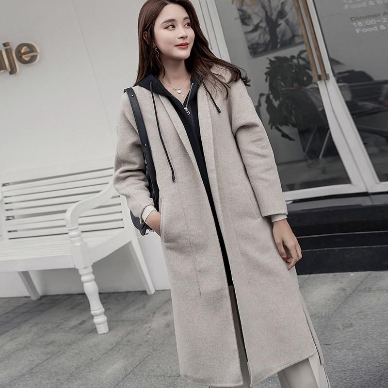 Automne Manteau Mode Revers gray Cachemire 100 Femmes De Lâche Tissu Nouvelle Oat blue Laine Hiver Capuche Chaud Et À rHpAznH