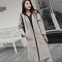 Autumn and winter new fashion loose women's cashmere wool coat 100% wool coat lapel hoodie wool fabric warm women's coat