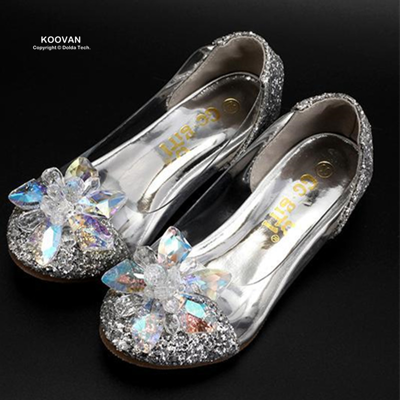 Koovan Kids Dance Shoes 2017 Children's Shoes Cinderella Princess Polished Diamond Crystal Heeled Girls Sandals Jelly Leather