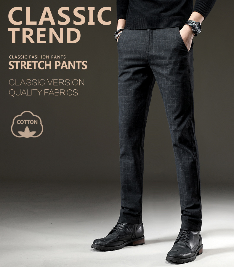 HTB1EUspJ4SYBuNjSsphq6zGvVXa0 jantour Brand Pants Men Casual Elastic Long Trousers Male Cotton lattice straight gray Work Pant men's autumn Large size 28-38