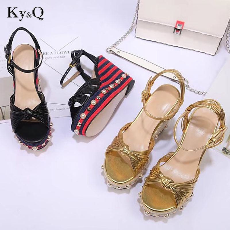 2018 Summer Runway Peals Platform Party Sandals Women Sexy Round Toe Rivet High Heels Shoes Female Festival Wedding hemp shoes2018 Summer Runway Peals Platform Party Sandals Women Sexy Round Toe Rivet High Heels Shoes Female Festival Wedding hemp shoes