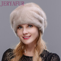 Women's Whole mink fur hat winter wholesale real muffle flower figure 2017 fashion luxury maid hat high quality free size