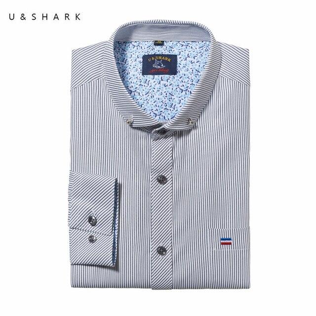 Autumn Stylish Long Sleeve Gray Striped Shirt Social Men Brand Slim Fit Camisa U&Shark Quality Mens Dress Shirts Male Chemise