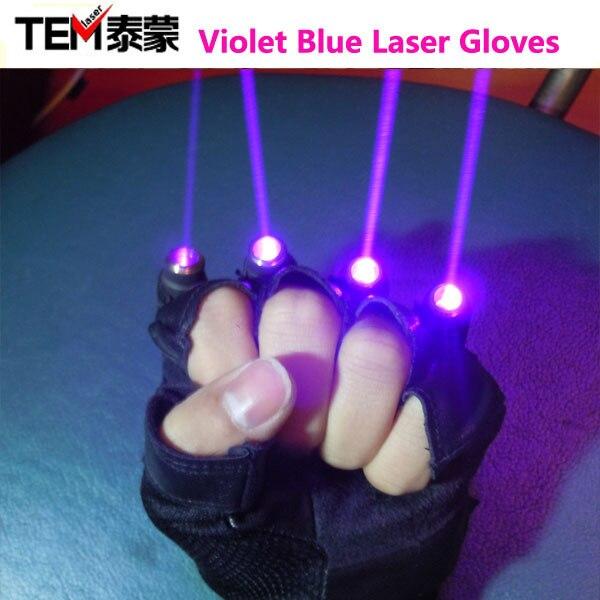 Livraison Gratuite Violet Bleu Laser Gants Avec 4 pcs 405nm laser, Gants scène pour DJ Club/Parti afficher