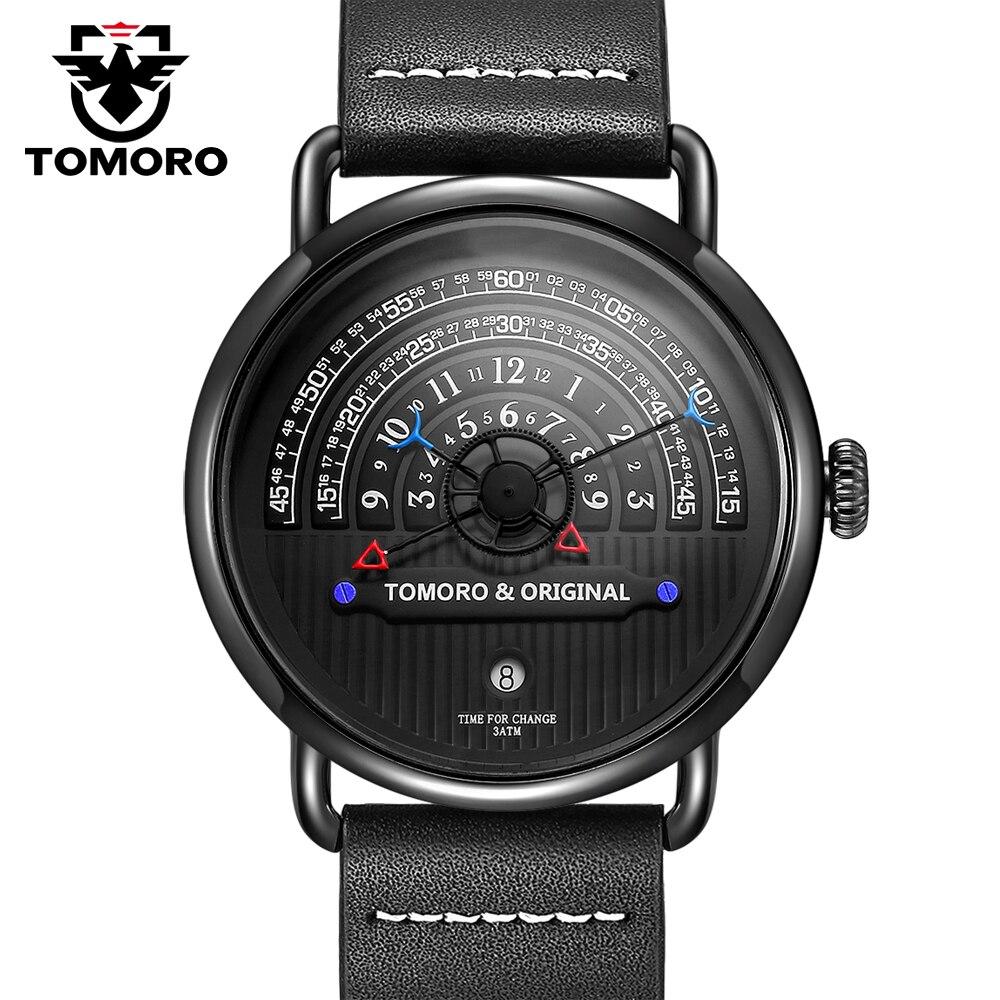 TOMORO D'origine 2018 Plus Créative Tactique Unique Heure de Lecture Design Reloj Hombre Hommes Montres Casual Male Horloge À Quartz Montre