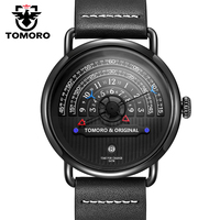 TOMORO Original 2017 Fresh New Men Creative Interesting Black Geunine Leather Japan Date Calendar Waterproof Casual