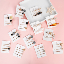 Mix 22Styles 3-4Pcs/Set Metal Geometric Ins Gold Hair Clips for girl Pearl Hairpin Barrettes Hairgrip Accessories women