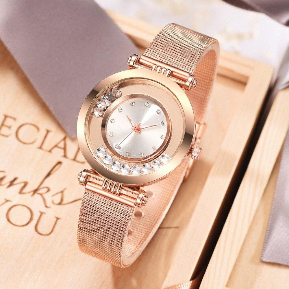 2019 New Fashion Rhinestone Quicksand Women Watch Rose Gold Luxury Stainless Steel Ladies Wrist Watch Trendy Exquisite Girl Gift