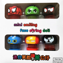 6 Pcs Mini Cute Shaking Head Toy Car Ornament Doll Emoji Face Sticker Avenger Marvel Hero Action Figures Accessories 5*3cm
