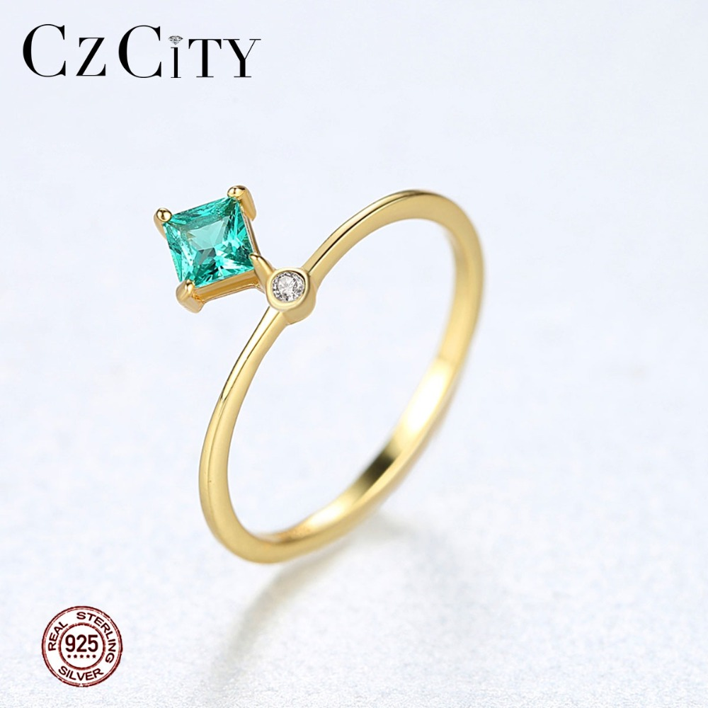 CZCITY Brand Design High-quality Pure 925 Sterling Silver Rings For Women Trendy Exquisite Geometric Femme Bijoux Fine Jewelry