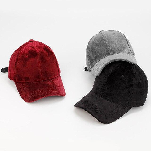 9e32fd55687 New Blank Velvet Snapback Baseball Caps Soft Pure Warm Dad Hats Women  Adjustable Casquette Gorras 6 Panel Curved bone Caps