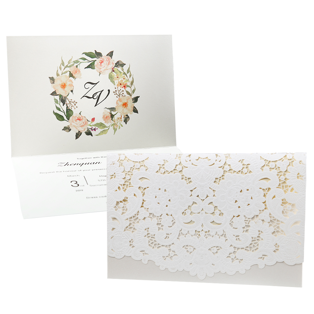 100pcs New Arrival Horizontal Laser Cut Wedding Invitation with White - Festive and Party Supplies